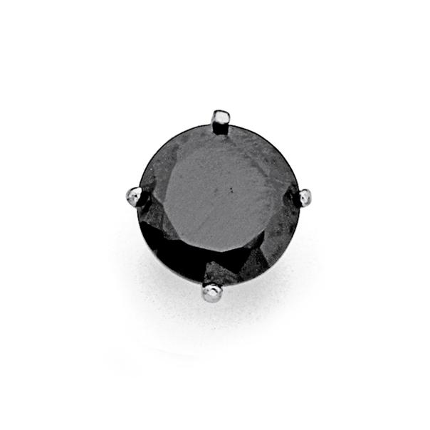 Chisel Stainless Steel Single Black Cubic Zirconia Stud Earring