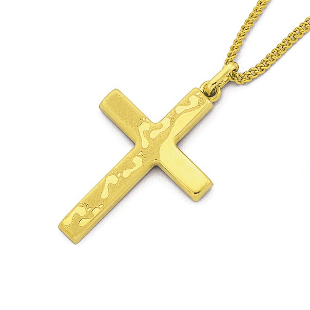Cross Pendant with Verse on Back in 9ct Yellow Gold