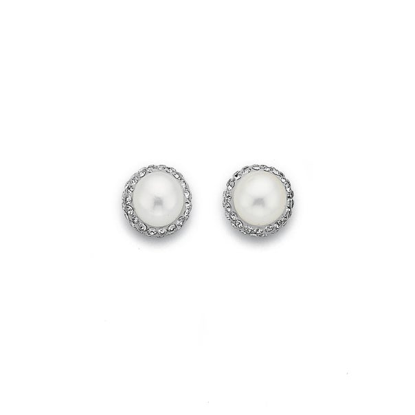 Crystal and Freshwater Pearl Sterling Silver Studs