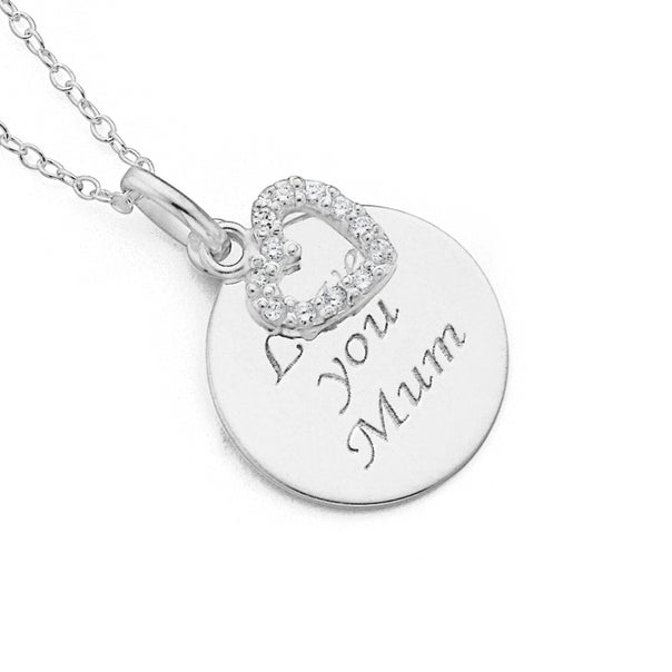 Cubic Zirconia Round Mum Pendant in Sterling Silver