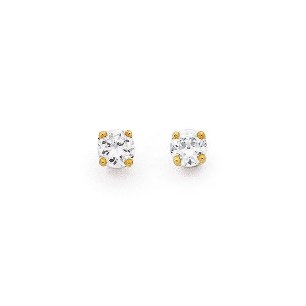 Cubic Zirconia Studs in 9ct Yellow Gold