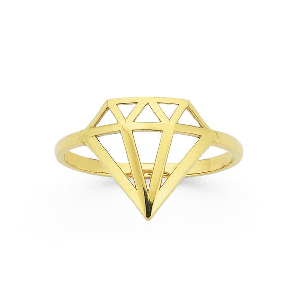 Diamond Shaped Ring in 9ct Yellow Gold
