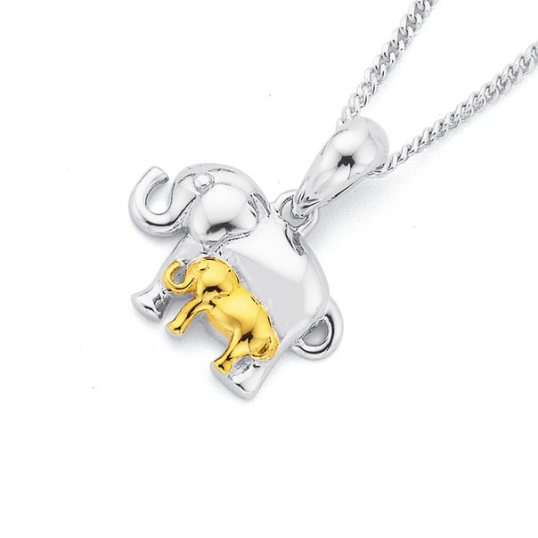 Elephant Pendant in Sterling Silver & Gold Plated