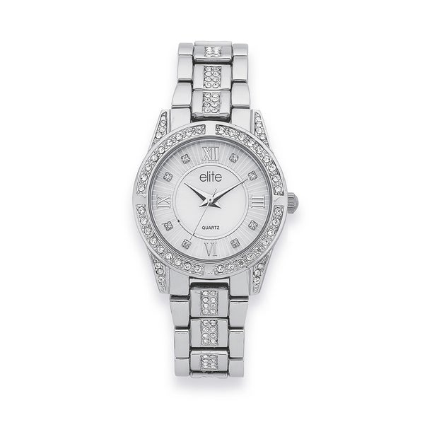 Elite Ladies Silver Tone Stone Set Watch