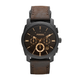 Fossil Gents Machine Black IP Case Brown Leather Strap
