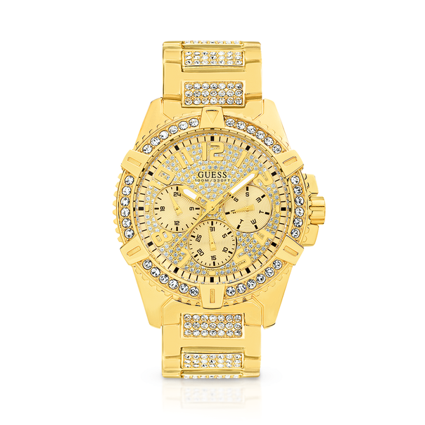 Guess Gents Gold Tone Full Bling Watch
