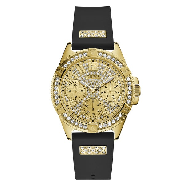 Guess Ladies Black & Gold Full Bling Watch