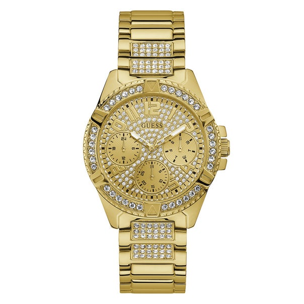 Guess Ladies Gold Tone Full Bling Watch