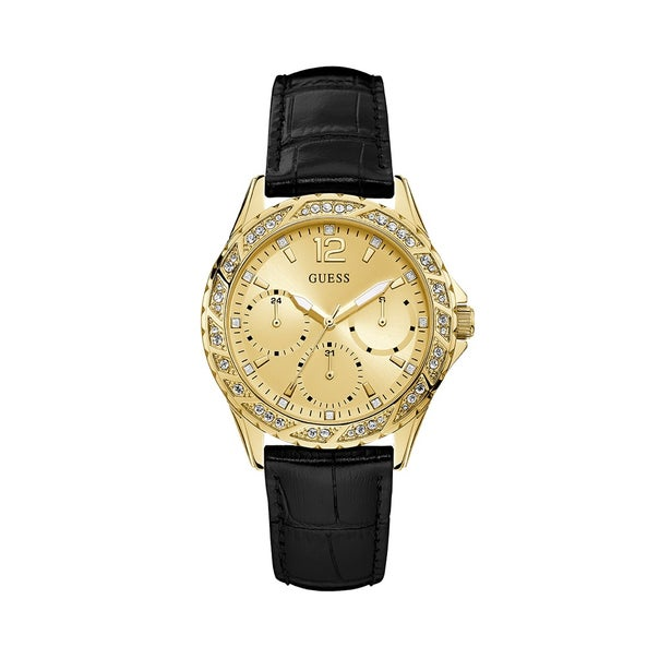 The Swirl timepiece by Guess features a polished  gold tone case with crystal embellishments, champagne sunray multi function dial and black crocco leather strap.
