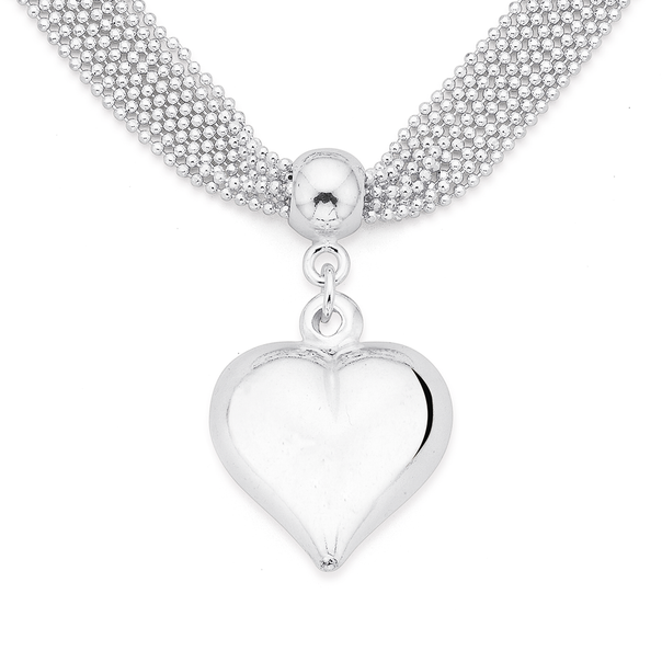 Heart on Diamond Cut Ball & Cable Chain in Sterling Silver