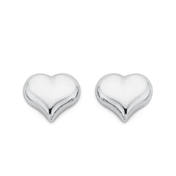 Heart Studs in 9ct White Gold