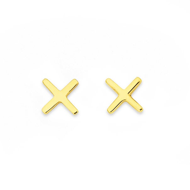 Kiss Studs in 9ct Yellow Gold