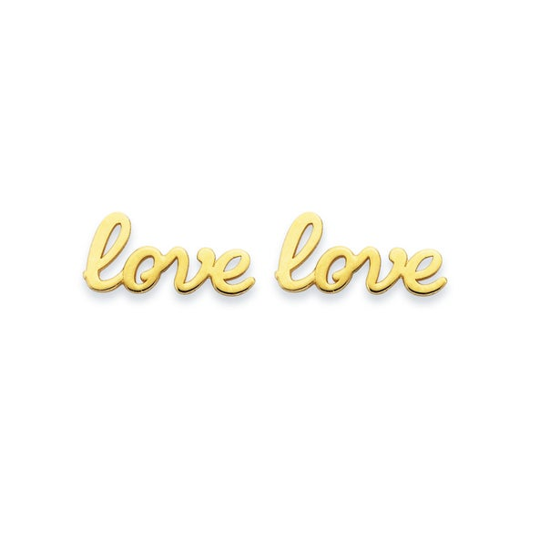Love' Word Studs in 9ct Yellow Gold