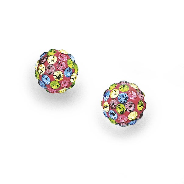 Multi Colour Crystal Ball Stud Earrings in Sterling Silver