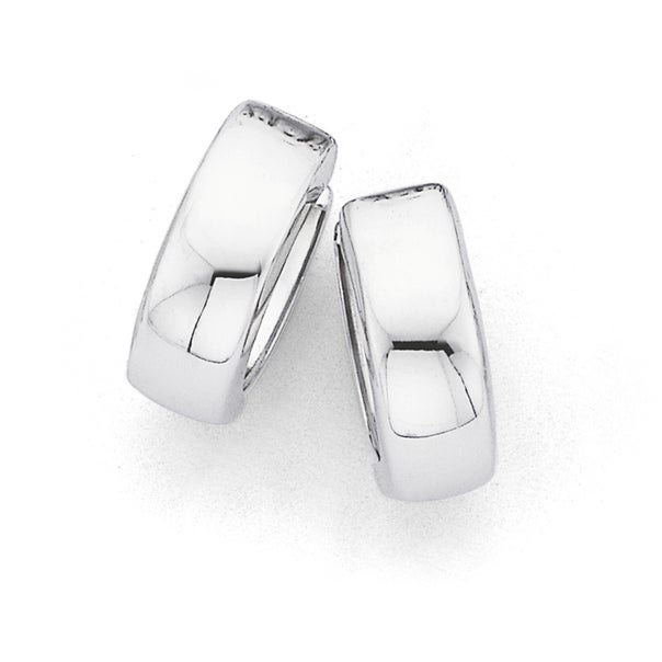 Polished Huggie Earrings in 9ct White Gold