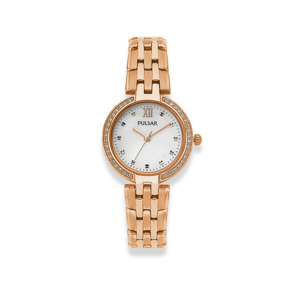 Pulsar Ladies Rose Gold Plated MOP Dial Watch
