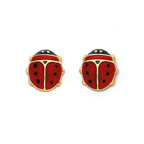 Red Ladybird Studs in 9ct Yellow Gold