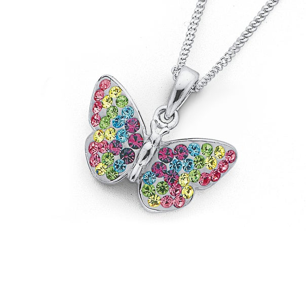 Silver Multi Colour Crystal Butterfly Pendant