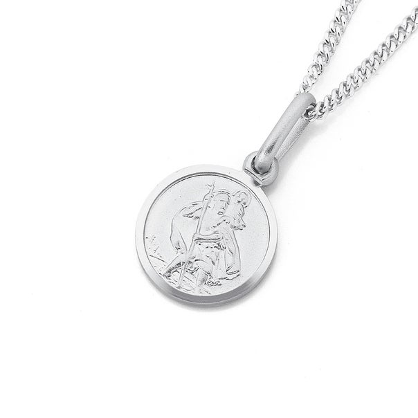 St. Christopher Pendant in 9ct White Gold.