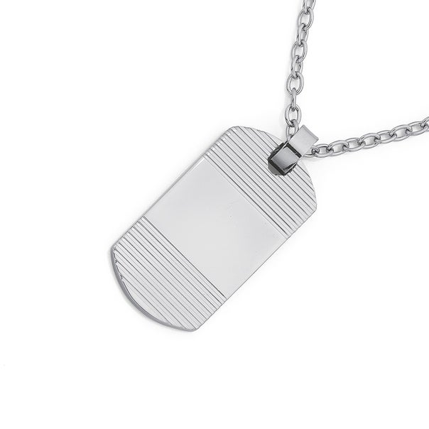 Stainless Steel Chisel Dogtag W. Horizontal Line