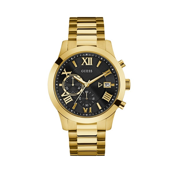 Stand the test of time with this ultra-classic timepiece. Featuring a black dial, gold case and gold bracelet.