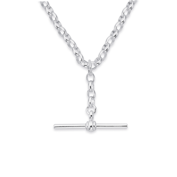 Sterling Silver 45cm Oval Belcher Chain with T-Bar Fob