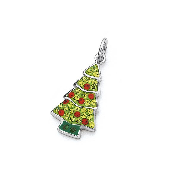 Sterling Silver Crystal Christmas Tree Pendant