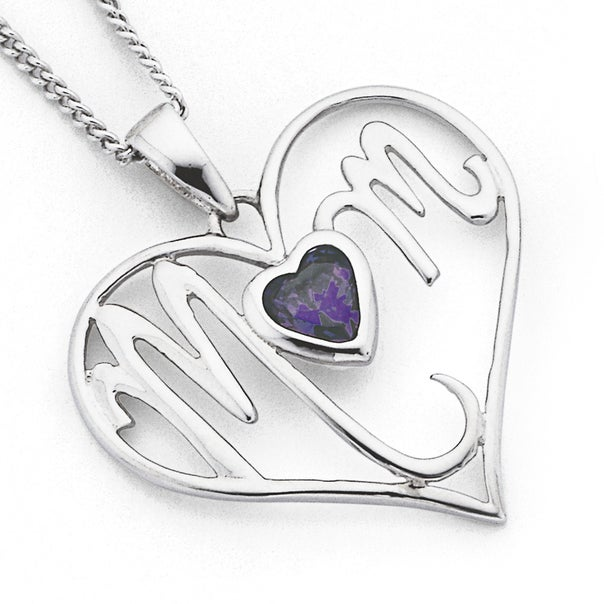 Sterling Silver Cubic Zirconia 'Mum' Heart Pendant