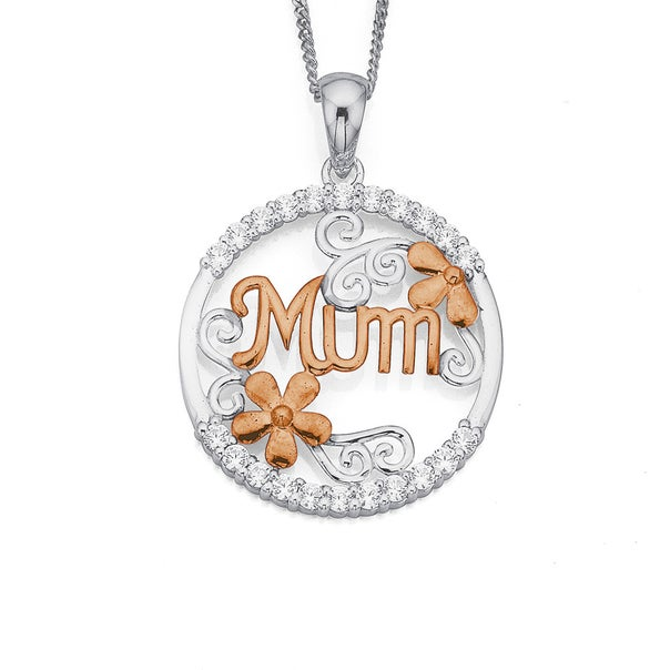 Sterling Silver Cubic Zirconia & Rose Gold Plated Mum Pendant