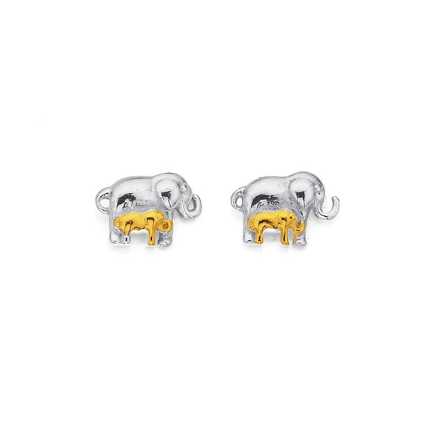 Sterling Silver Gold Plated Mother & Child Elephant Studs