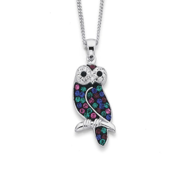 Sterling Silver Multi Coloured Crystal Owl Pendant