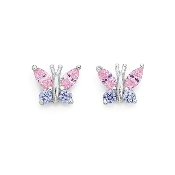 Sterling Silver Pink and Purple Cubic Zirconia Butterfly Studs