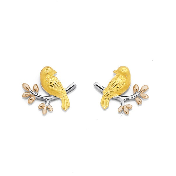 Sterling Silver Rose & Gold Plated Bird On Branch Studs