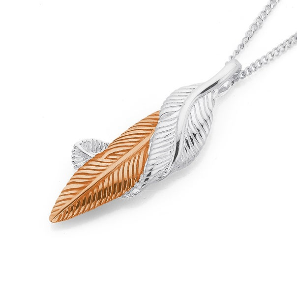 Sterling Silver Rose Gold Plated Feathers Pendant