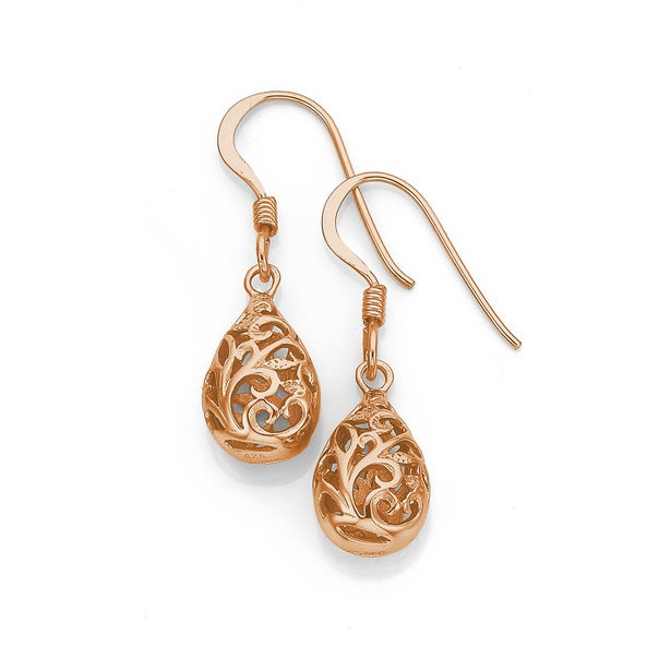 Sterling Silver Rose Gold Plated Filigree Pear Earrings