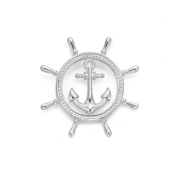 Sterling Silver Ship Wheel with Anchor Pendant