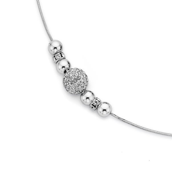 Cubic Zirconia, Sterling Silver & Silver Plated 45cm Snake Chain Necklace