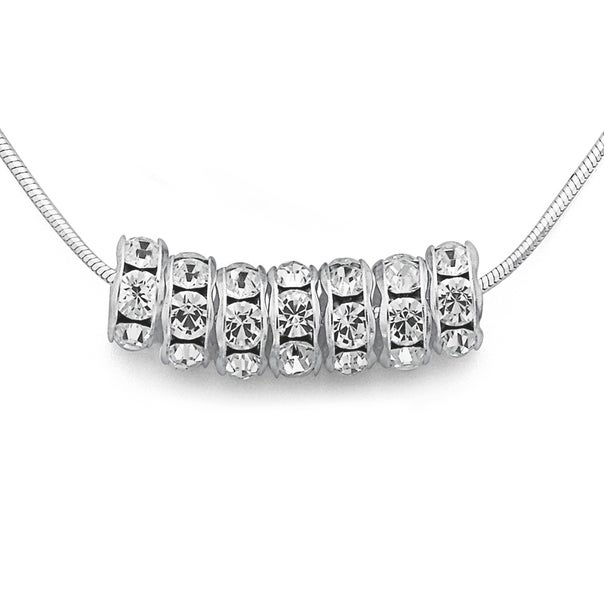 Sterling Silver & Silver Plated Crystal 7 Lucky Rings Necklet
