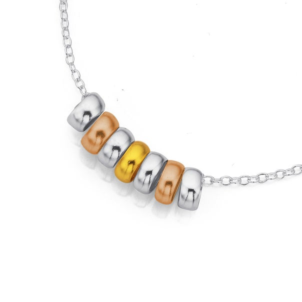 Sterling Silver Yellow & Rose Gold Plated 7 Lucky Rings Necklet