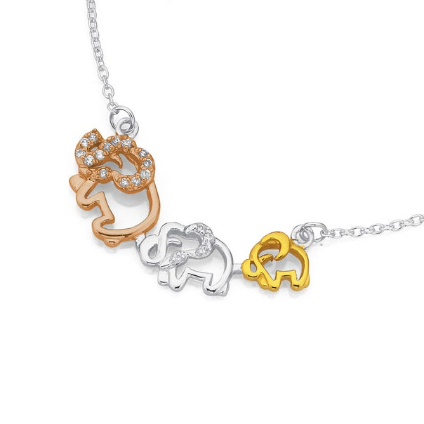 Sterling Silver Yellow & Rose Gold Plated Cubic Zirconia Elephant Necklet