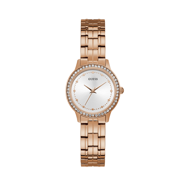 The Chelsea timepiece by Guess offers classic styling with a touch of glamour and style. Featuring a polished rose gold tone case with crystal embellishments, sunray white dial and a polished rose gold tone mesh bracelet.