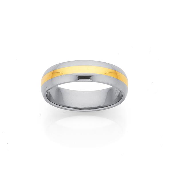 Titanium & 9ct Yellow Gold 6mm Wide Wedding Band Size X