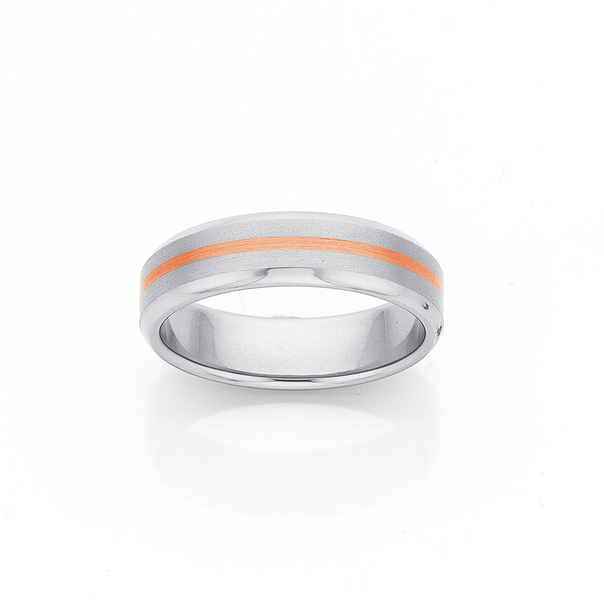 Titanium and 9ct Rose Gold 6mm Wide Wedding Band