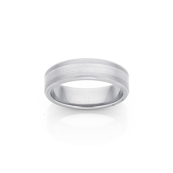 Titanium and Sterling Silver 6mm Wide Wedding Band