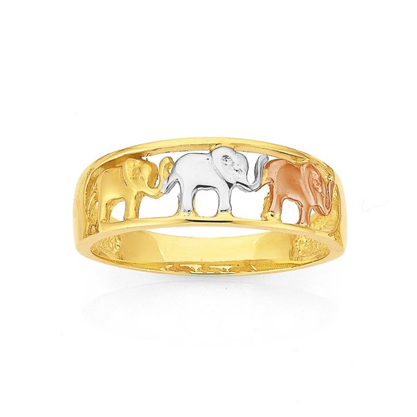 Tri Tone Elephants Ring in 9ct Gold
