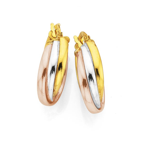 Tri Tone Russian Earrings in 9ct Rose, White and Yellow Gold