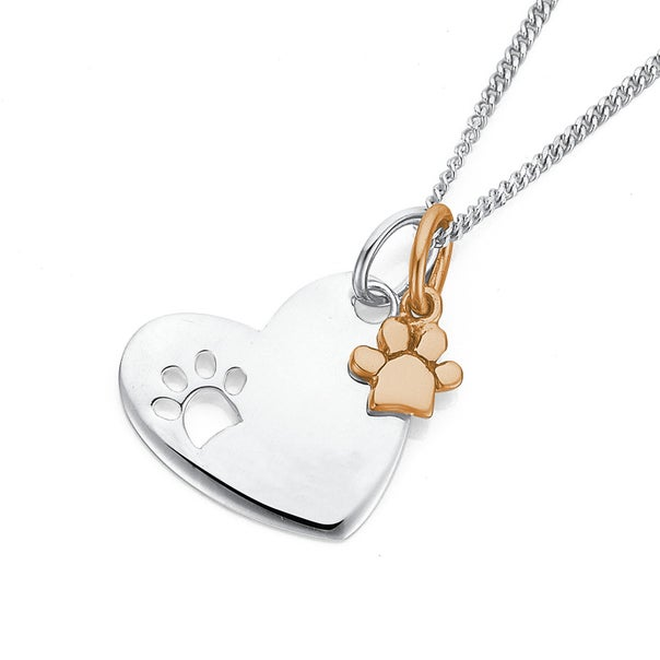 Two Toned Sterling Silver and Rose Gold Paw Print and Heart Pendant